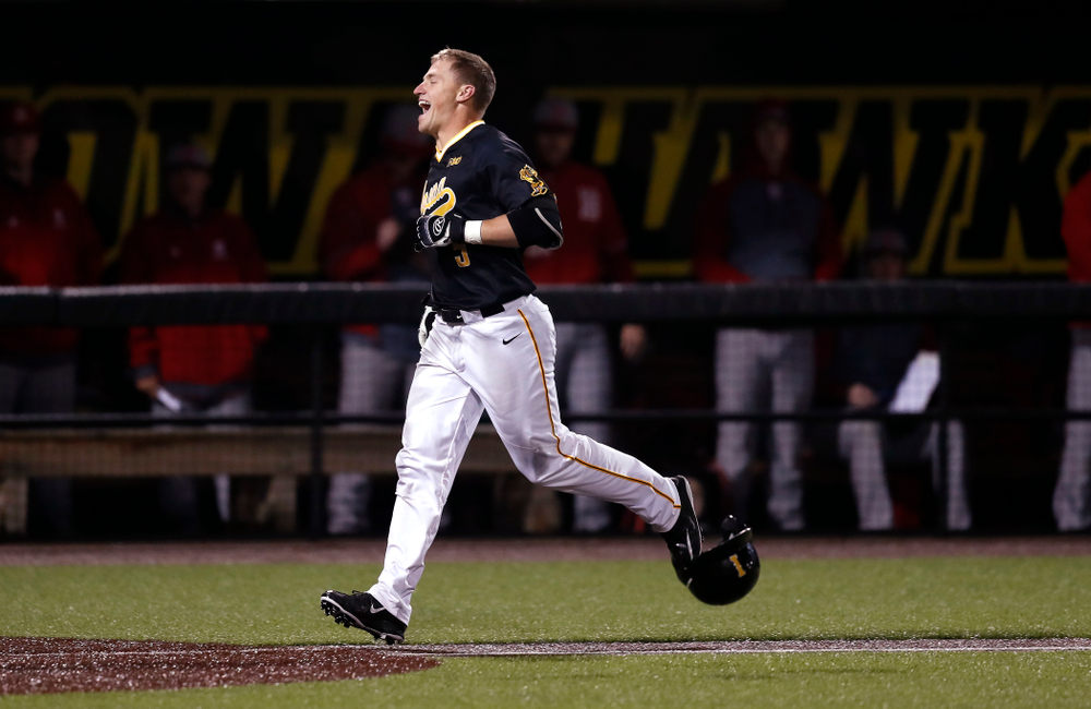 Iowa Hawkeyes catcher Tyler Cropley (5) hits a walk off grand slam against the Bradley Braves Wednesday, March 28, 2018 at Duane Banks Field. (Brian Ray/hawkeyesports.com)