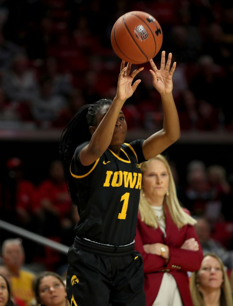 Iowa Hawkeyes guard Tomi Taiwo  (1) against the Maryland Terrapins Thursday, February 13, 2020 at the Xfinity Center in College Park, MD. (Brian Ray/hawkeyesports.com)