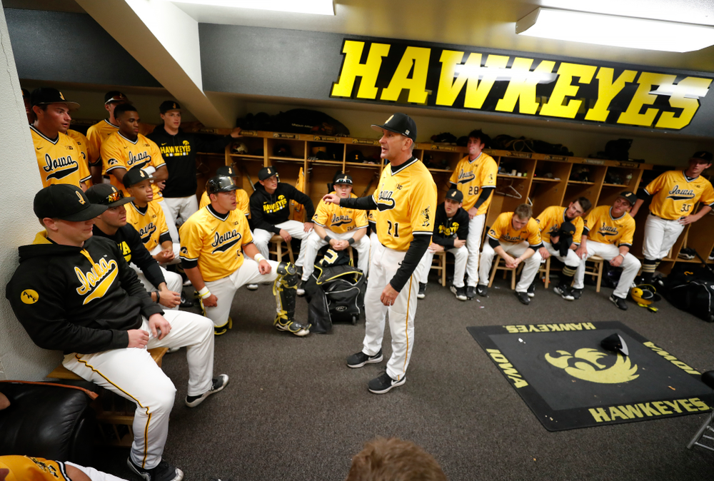 Iowa Hawkeyes head coach Rick Heller against the Michigan Wolverines Sunday, April 29, 2018 at Duane Banks Field. (Brian Ray/hawkeyesports.com)