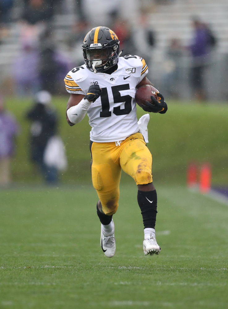 Iowa Hawkeyes running back Tyler Goodson (15) against the Northwestern Wildcats Saturday, September 28, 2019 at Kinnick Stadium. (Max Allen/hawkeyesports.com)