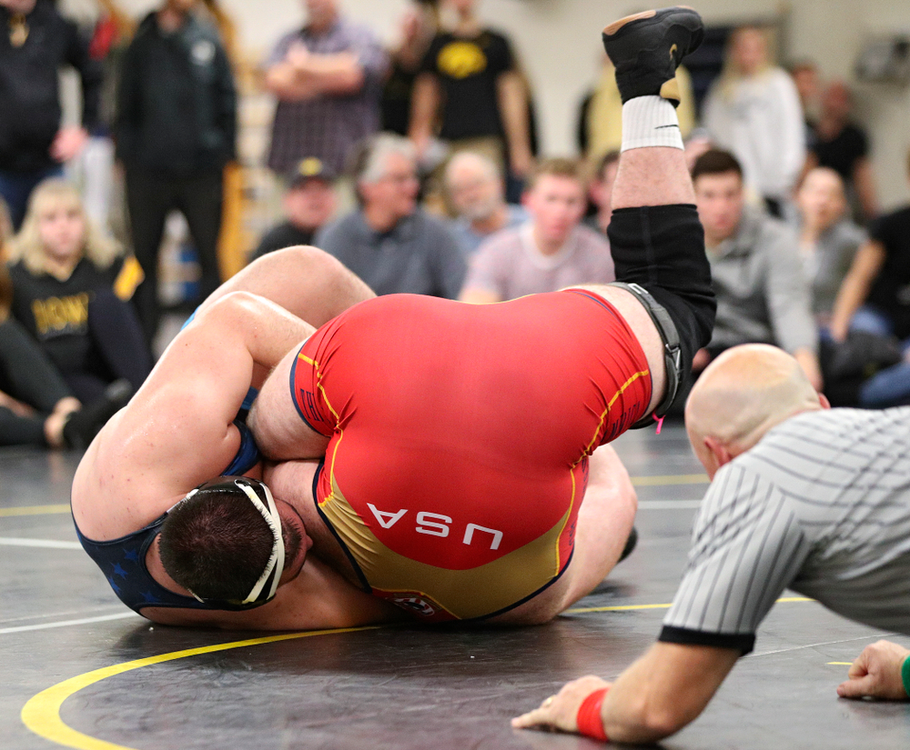 Iowa's Tony Cassioppi (left) works on pinning Aaron Costello during their preseason match at the Dan Gable Wrestling Complex at Carver-Hawkeye Arena in Iowa City on Thursday, Nov 7, 2019. (Stephen Mally/hawkeyesports.com)