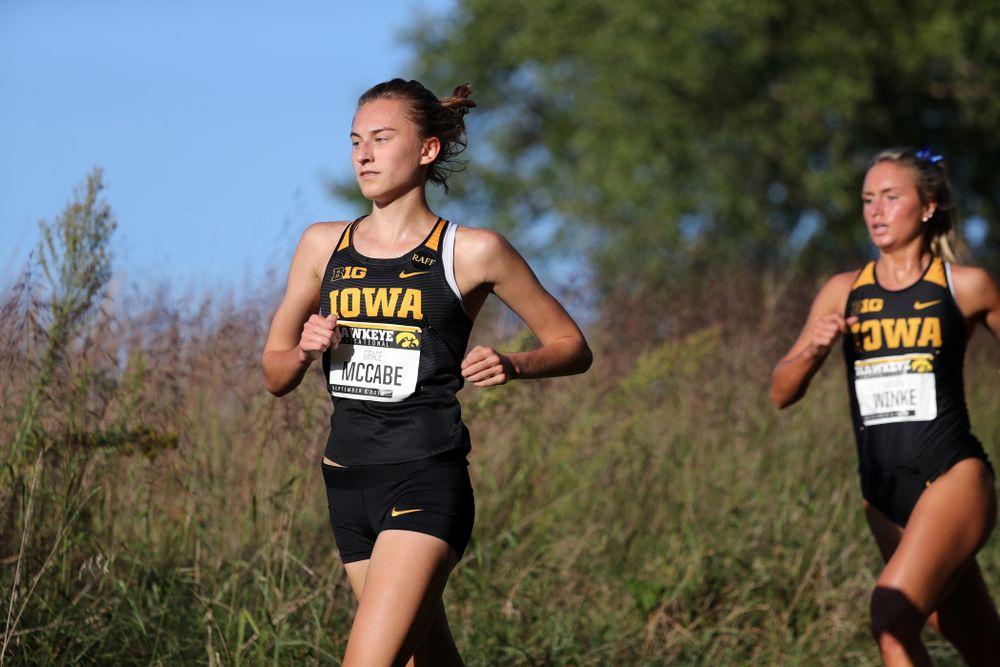 IowaÕs Grace McCabe runs in the 2019 Hawkeye Invitational Friday, September 6, 2019 at the Ashton Cross Country Course. (Brian Ray/hawkeyesports.com)