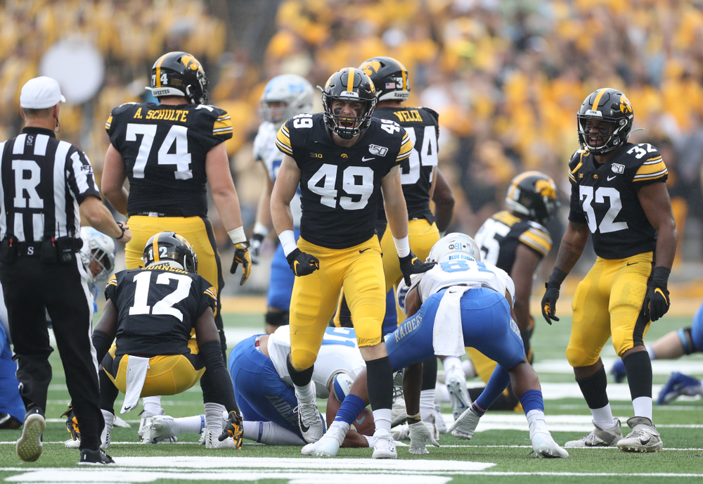 Iowa Hawkeyes linebacker Nick Niemann (49) against Middle Tennessee State Saturday, September 28, 2019 at Kinnick Stadium. (Max Allen/hawkeyesports.com)
