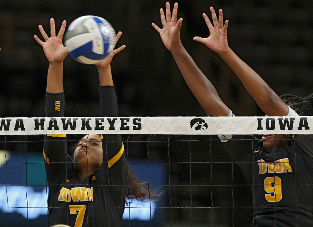 Iowa's Brie Orr (7) and Amiya Jones (9) during the third set of the Black and Gold scrimmage at Carver-Hawkeye Arena in Iowa City on Saturday, Aug 24, 2019. (Stephen Mally/hawkeyesports.com)