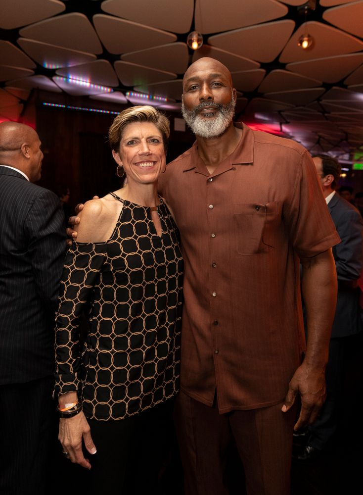 Iowa Hawkeyes associate head coach Jan Jensen with NBA great Karl Malone before the ESPN College Basketball Awards show Friday, April 12, 2019 at The Novo at LA Live.  (Brian Ray/hawkeyesports.com)