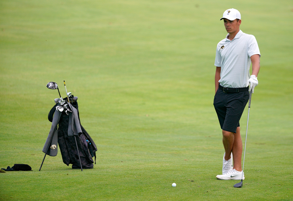 Iowa's Garrett Tighe waits to hit from the fairway during the second day of the Golfweek Conference Challenge at the Cedar Rapids Country Club in Cedar Rapids on Monday, Sep 16, 2019. (Stephen Mally/hawkeyesports.com)