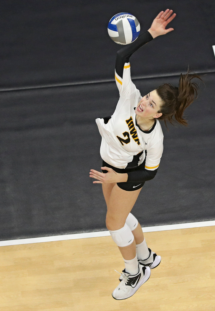 Iowa's Courtney Buzzerio (2) lines up a shot during the second set of their match at Carver-Hawkeye Arena in Iowa City on Saturday, Nov 30, 2019. (Stephen Mally/hawkeyesports.com)
