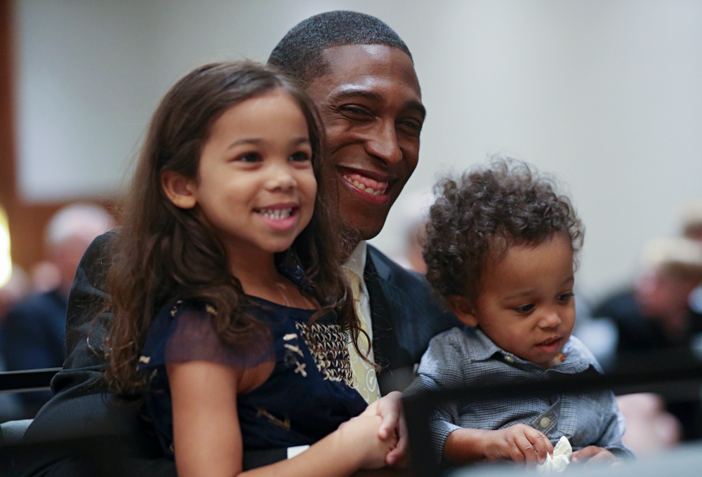 2019 University of Iowa Athletics Hall of Fame inductee Jeremy Allen with his kids during the Hall of Fame Induction Ceremony at the Coralville Marriott Hotel and Conference Center in Coralville on Friday, Aug 30, 2019. (Stephen Mally/hawkeyesports.com)
