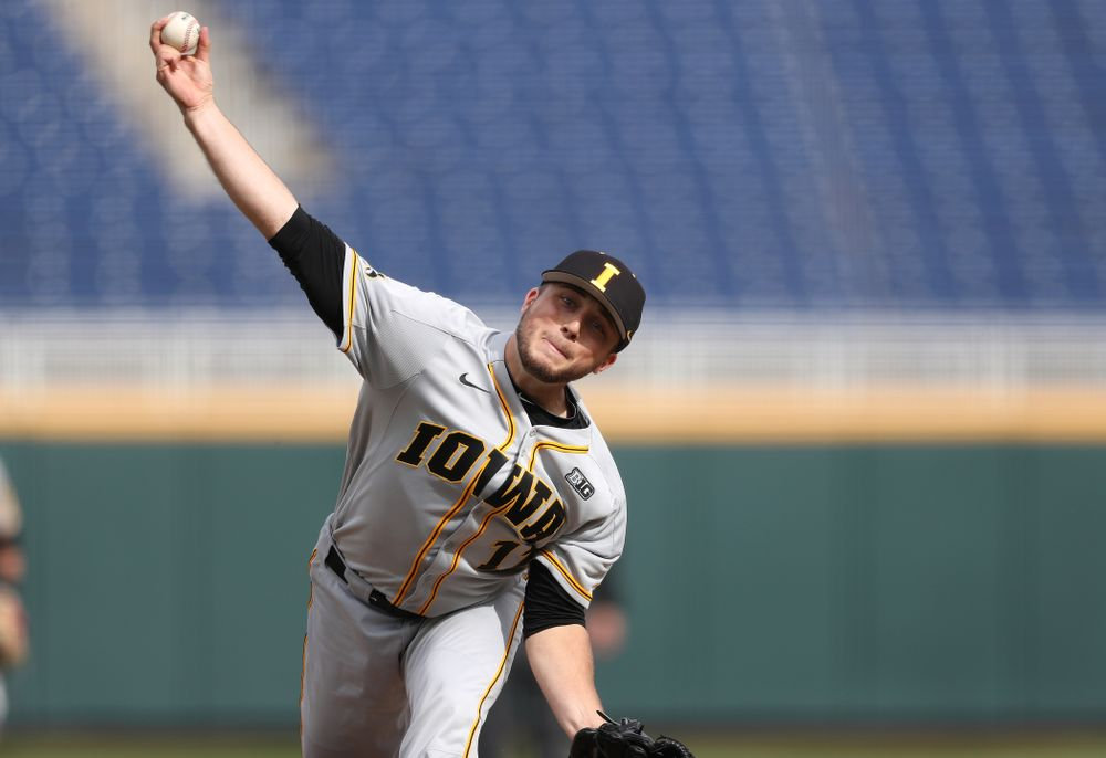 Iowa Hawkeyes Cole McDonald (11) delivers the ball to the plate against the Indiana Hoosiers in the first round of the Big Ten Baseball Tournament Wednesday, May 22, 2019 at TD Ameritrade Park in Omaha, Neb. (Brian Ray/hawkeyesports.com)