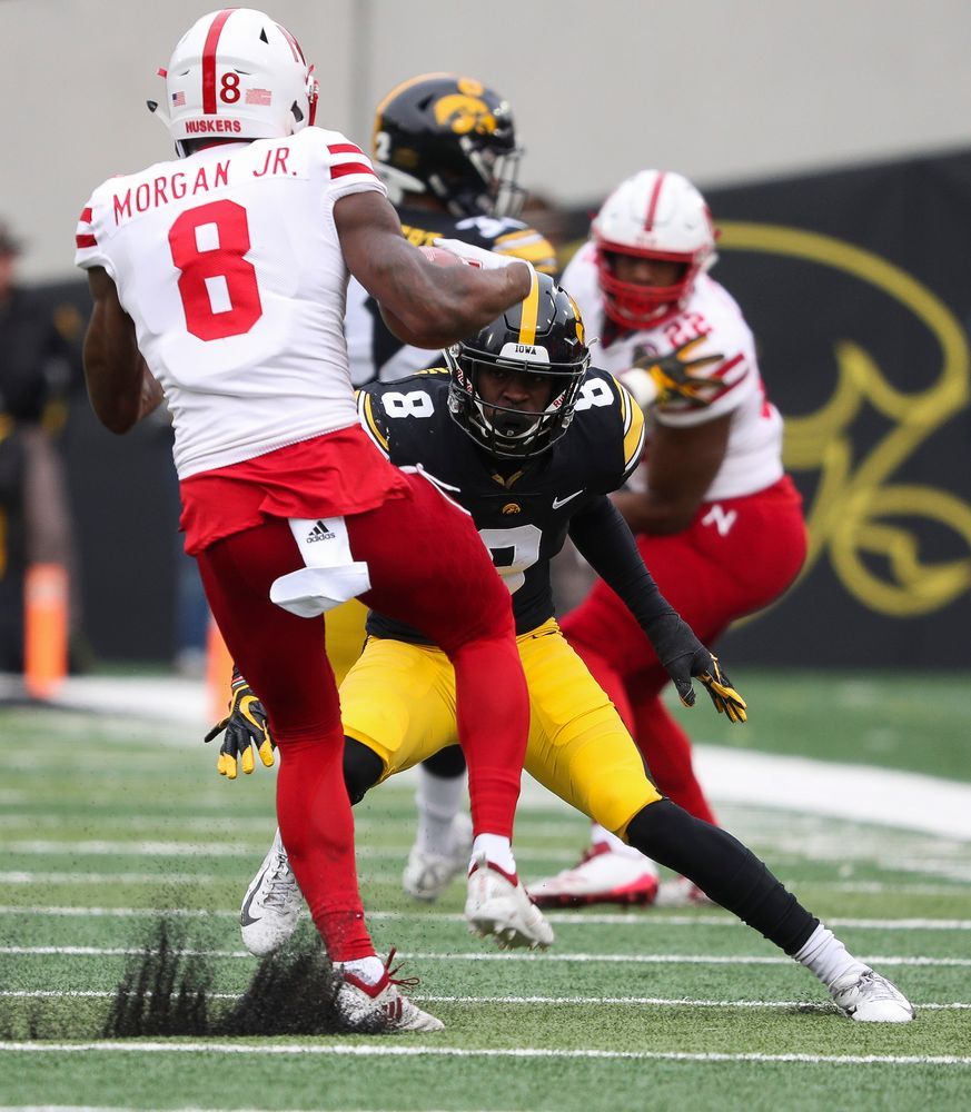 Iowa Hawkeyes defensive back Matt Hankins (8) makes a tackle during a game against Nebraska at Kinnick Stadium on November 23, 2018. (Tork Mason/hawkeyesports.com)