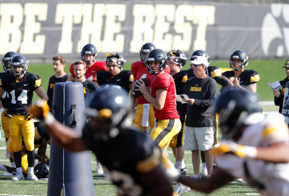 Iowa Hawkeyes quarterback Peyton Mansell (2) during camp practice No. 17 Wednesday, August 22, 2018 at the Kenyon Football Practice Facility. (Brian Ray/hawkeyesports.com)