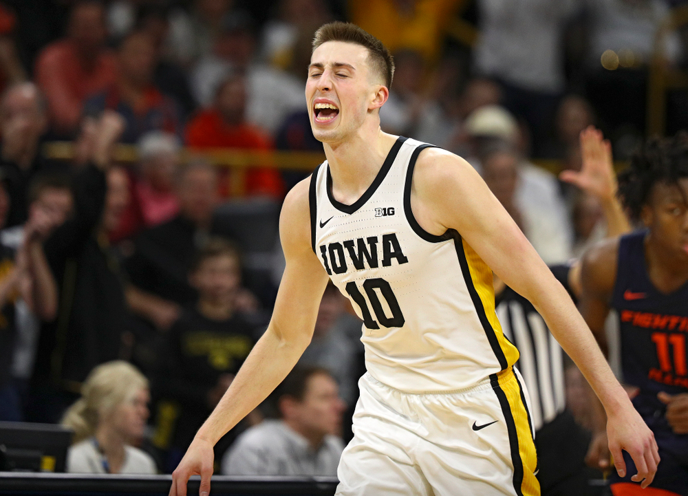 Iowa Hawkeyes guard Joe Wieskamp (10) celebrates after making a 3-pointer during the second half of the game at Carver-Hawkeye Arena in Iowa City on Sunday, February 2, 2020. (Stephen Mally/hawkeyesports.com)