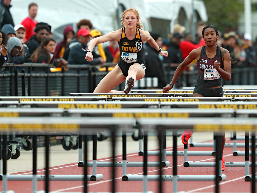 Iowa's Kylie Morken runs the women's 100 meter hurdles event on the second day of the Big Ten Outdoor Track and Field Championships at Francis X. Cretzmeyer Track in Iowa City on Saturday, May. 11, 2019. (Stephen Mally/hawkeyesports.com)