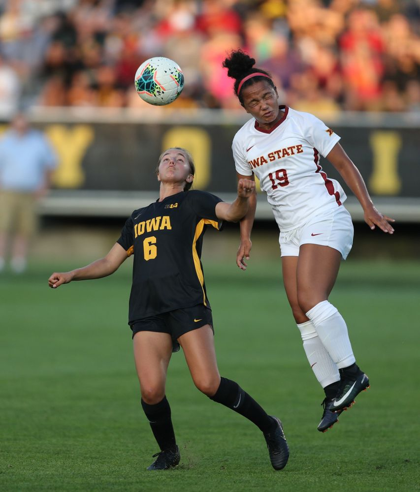 Iowa Hawkeyes midfielder Isabella Blackman (6) during a 2-1 victory over the Iowa State Cyclones Thursday, August 29, 2019 in the Iowa Corn Cy-Hawk series at the Iowa Soccer Complex. (Brian Ray/hawkeyesports.com)