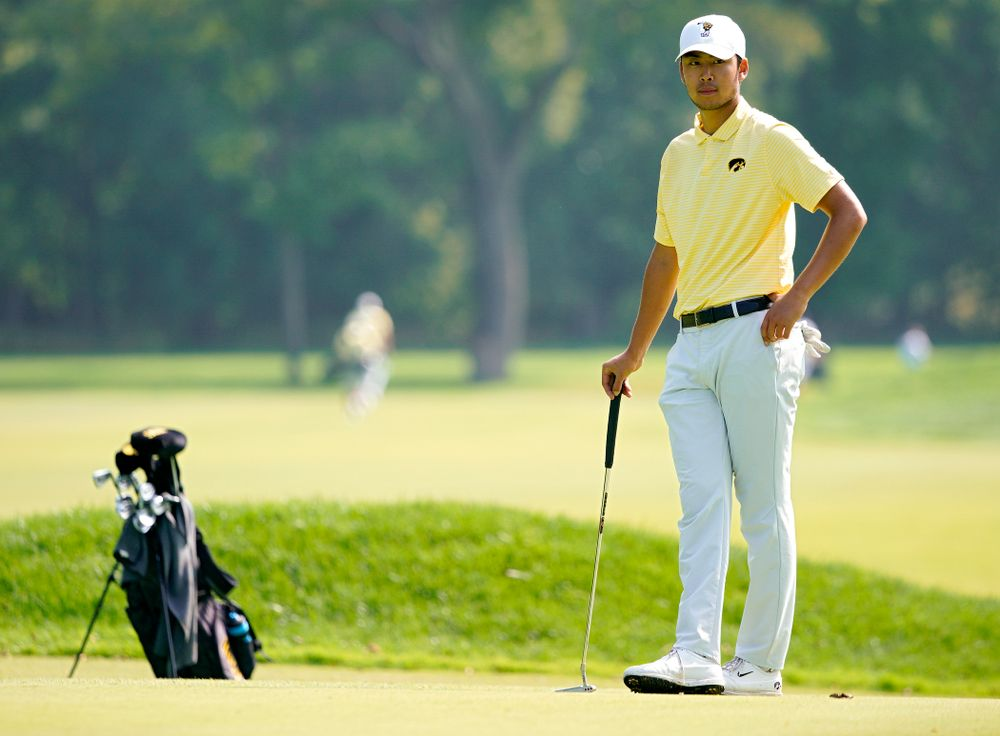 Iowa's Joe Kim waits to putt during the third day of the Golfweek Conference Challenge at the Cedar Rapids Country Club in Cedar Rapids on Tuesday, Sep 17, 2019. (Stephen Mally/hawkeyesports.com)