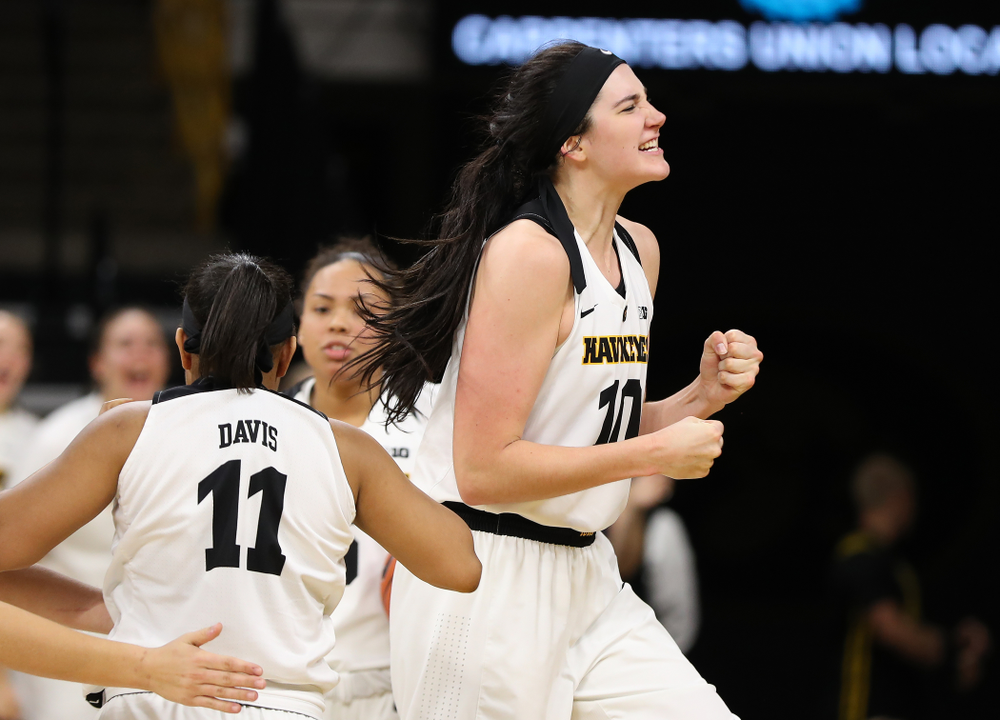 Iowa Hawkeyes forward Megan Gustafson (10) celebrates following a play against the Nebraska Cornhuskers Thursday, January 3, 2019 at Carver-Hawkeye Arena. (Brian Ray/hawkeyesports.com)