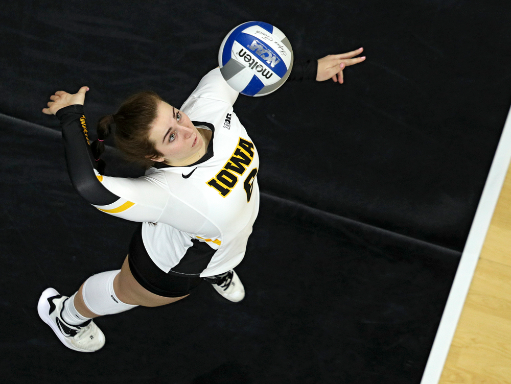 Iowa's Emma Lowes (6) lines up an ace serve during the third set of their match at Carver-Hawkeye Arena in Iowa City on Saturday, Nov 30, 2019. (Stephen Mally/hawkeyesports.com)