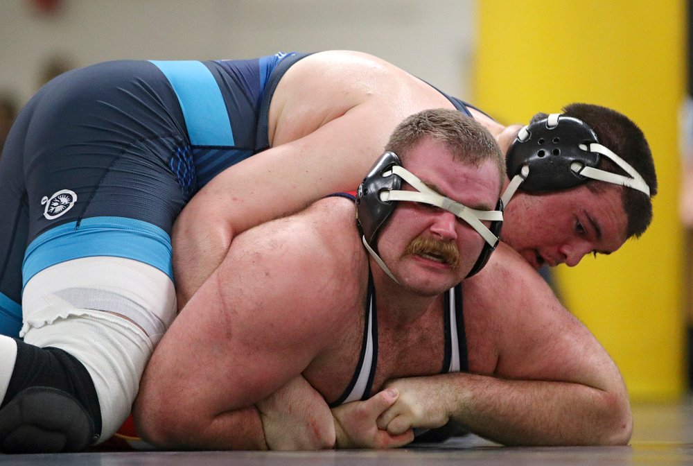 Iowa's Tony Cassioppi (top) works on top of Aaron Costello during their preseason match at the Dan Gable Wrestling Complex at Carver-Hawkeye Arena in Iowa City on Thursday, Nov 7, 2019. (Stephen Mally/hawkeyesports.com)
