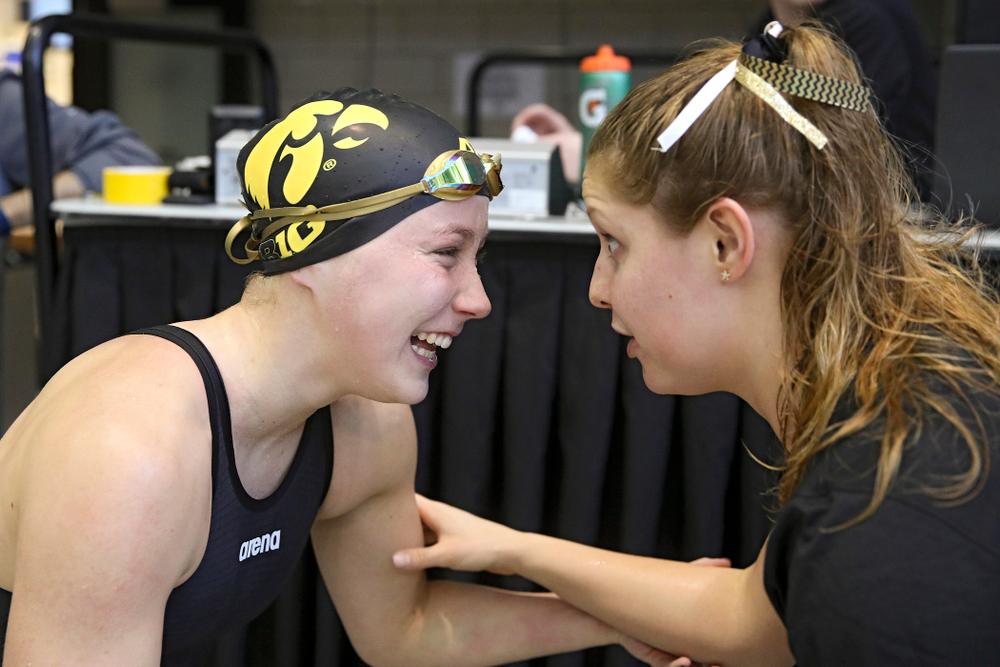 Iowa's Aleksandra Olesiak celebrates after making the C final in the women's 200 yard breaststroke event during the 2020 Women's Big Ten Swimming and Diving Championships at the Campus Recreation and Wellness Center in Iowa City on Saturday, February 22, 2020. (Stephen Mally/hawkeyesports.com)