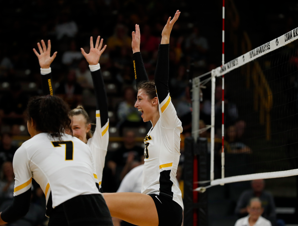 Iowa Hawkeyes middle blocker Sarah Wing (13) against the Michigan Wolverines Sunday, September 23, 2018 at Carver-Hawkeye Arena. (Brian Ray/hawkeyesports.com)