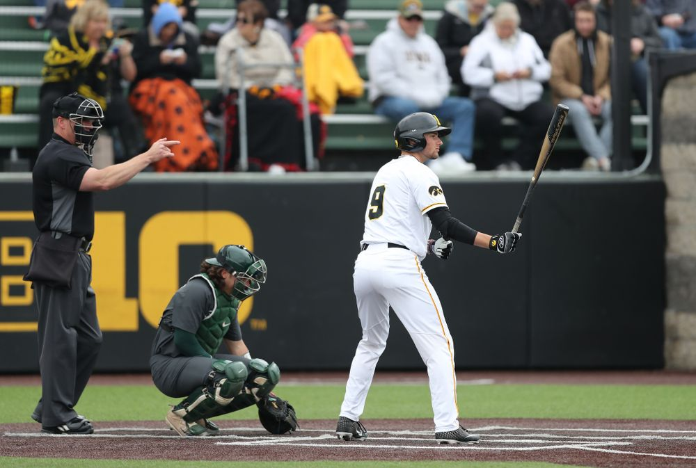 Iowa Hawkeyes outfielder Ben Norman (9) against Michigan State Sunday, May 12, 2019 at Duane Banks Field. (Brian Ray/hawkeyesports.com)