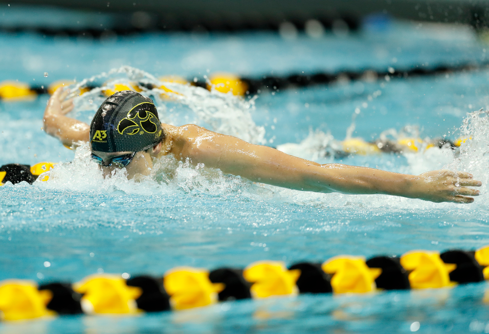 Iowa's Michael Tenney swims the 200 yard butterfly