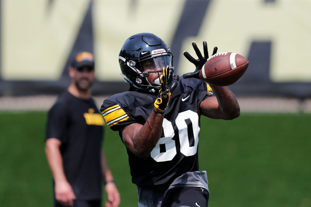 Iowa Hawkeyes wide receiver Devonte Young (80) during fall camp practice No. 9 Friday, August 10, 2018 at the Kenyon Practice Facility. (Brian Ray/hawkeyesports.com)