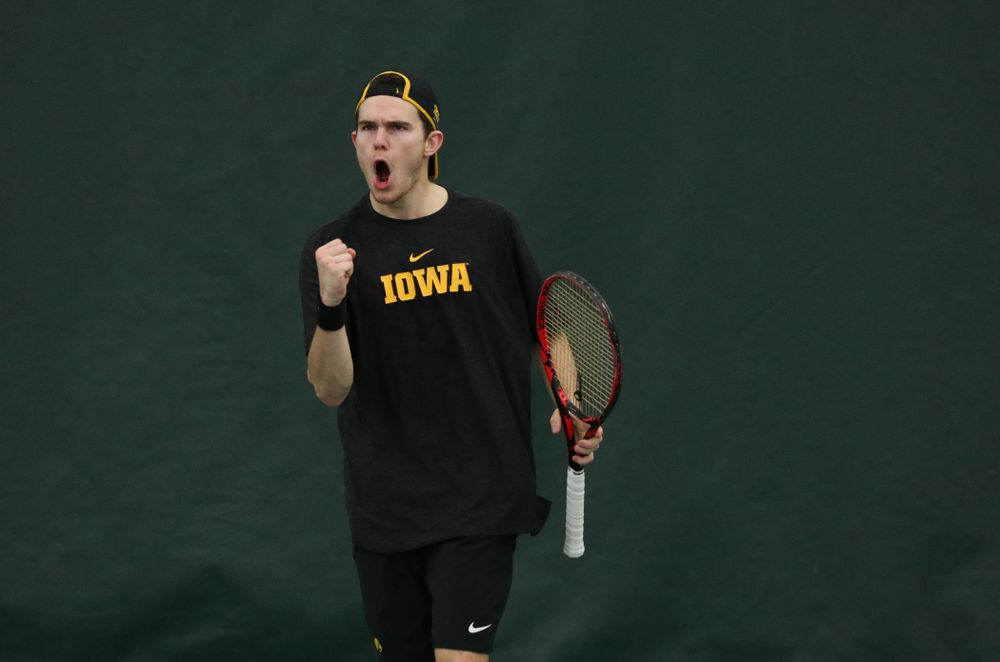 Iowa's Jonas Larsen against UMKC Friday, February 15, 2019 at the Hawkeye Tennis and Recreation Complex. (Brian Ray/hawkeyesports.com)