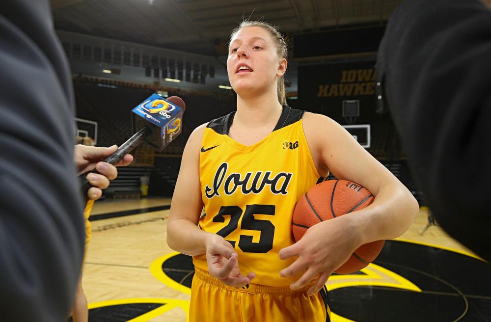 Iowa forward/center Monika Czinano (25) answers questions during Iowa Women's Basketball Media Day at Carver-Hawkeye Arena in Iowa City on Thursday, Oct 24, 2019. (Stephen Mally/hawkeyesports.com)