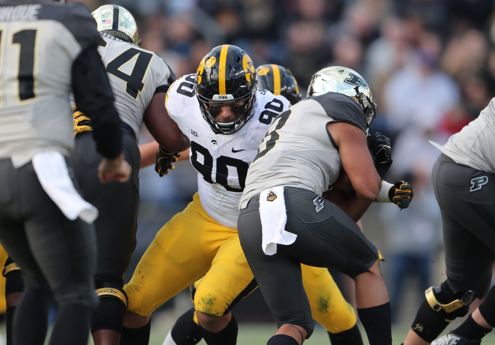 Iowa Hawkeyes defensive end Sam Brincks (90) against the Purdue Boilermakers Saturday, November 3, 2018 Ross Ade Stadium in West Lafayette, Ind. (Brian Ray/hawkeyesports.com)