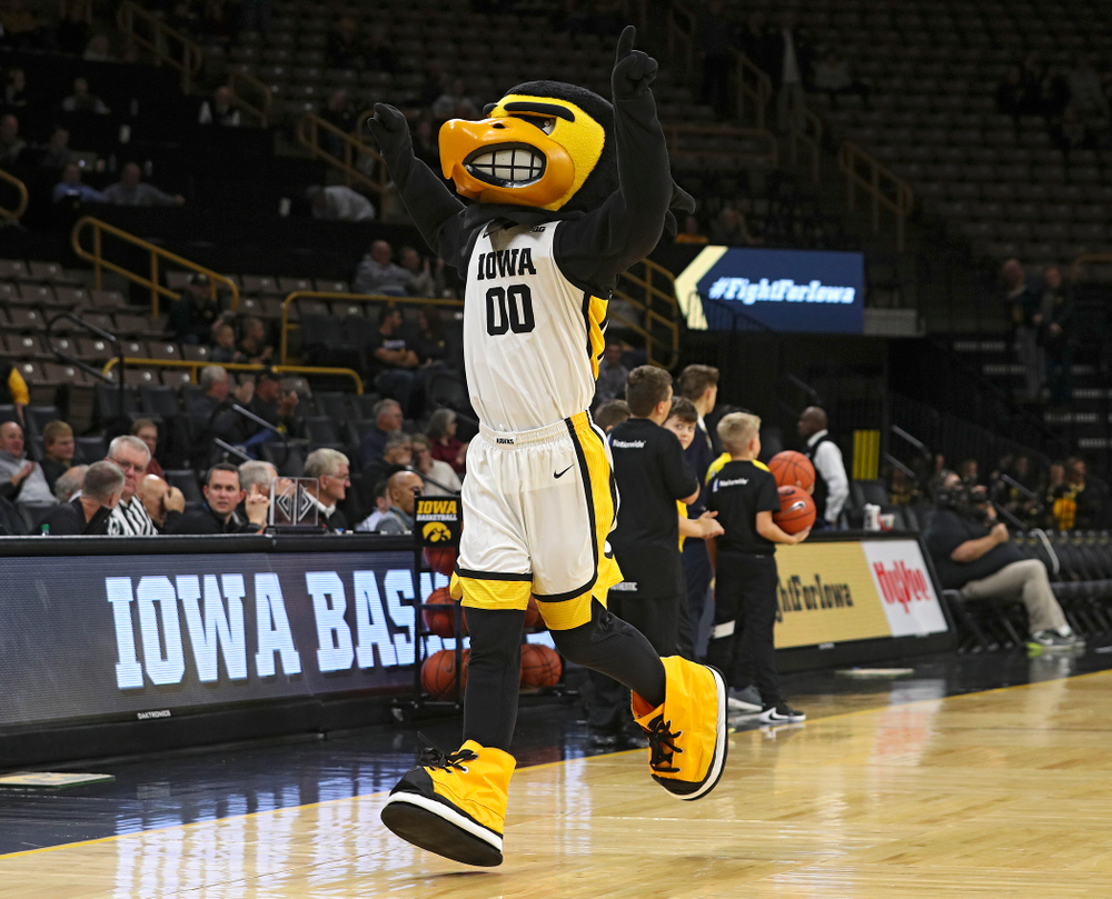 Herky runs onto the court before their exhibition game against Lindsey Wilson College at Carver-Hawkeye Arena in Iowa City on Monday, Nov 4, 2019. (Stephen Mally/hawkeyesports.com)