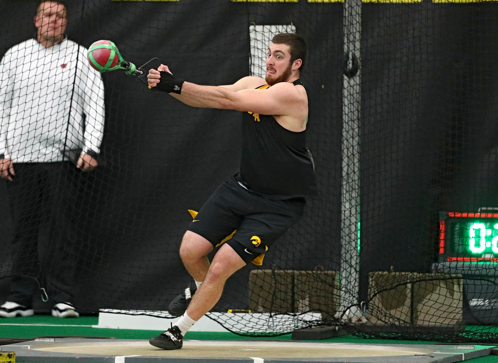 Iowa's Tyler Lienau throws in the men's weight throw event during the Larry Wieczorek Invitational at the Hawkeye Tennis and Recreation Complex in Iowa City on Friday, January 17, 2020. (Stephen Mally/hawkeyesports.com)