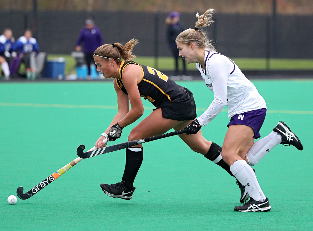 Iowa's Sophie Sunderland (20) moves with the ball during the second quarter of their game at Grant Field in Iowa City on Saturday, Oct 26, 2019. (Stephen Mally/hawkeyesports.com)