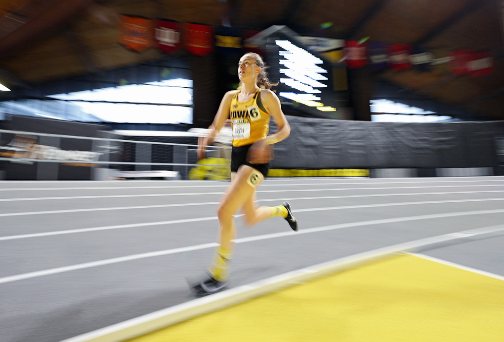 Iowa's Mary Arch runs the women's 3000 meter run event during the Hawkeye Invitational at the Recreation Building in Iowa City on Saturday, January 11, 2020. (Stephen Mally/hawkeyesports.com)