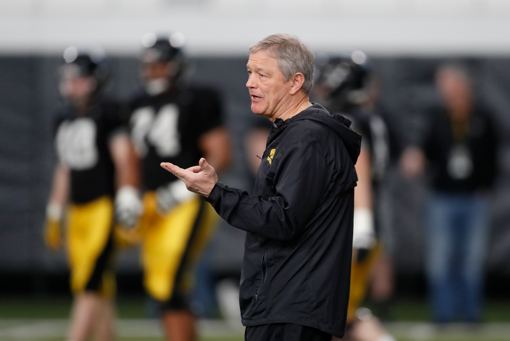 Iowa Hawkeyes head coach Kirk Ferentz during spring practice Wednesday, March 28, 2018 at the Hansen Football Performance Center.  (Brian Ray/hawkeyesports.com)