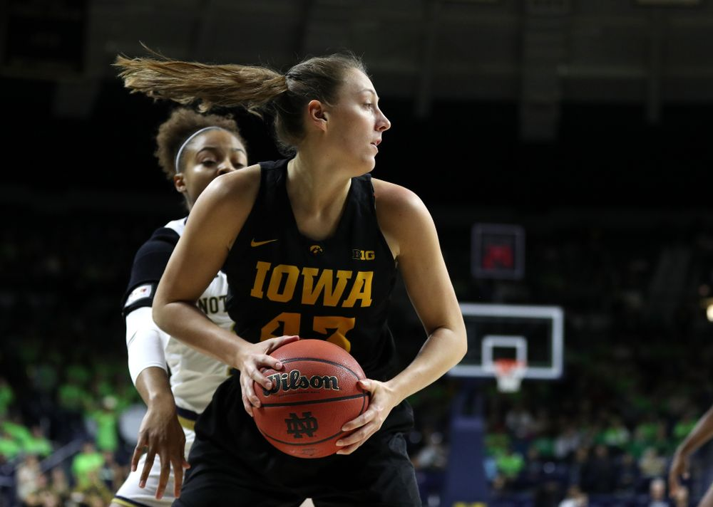 Iowa Hawkeyes forward Amanda Ollinger (43) against the Notre Dame Fighting Irish Thursday, November 29, 2018 at the Joyce Center in South Bend, Ind. (Brian Ray/hawkeyesports.com)