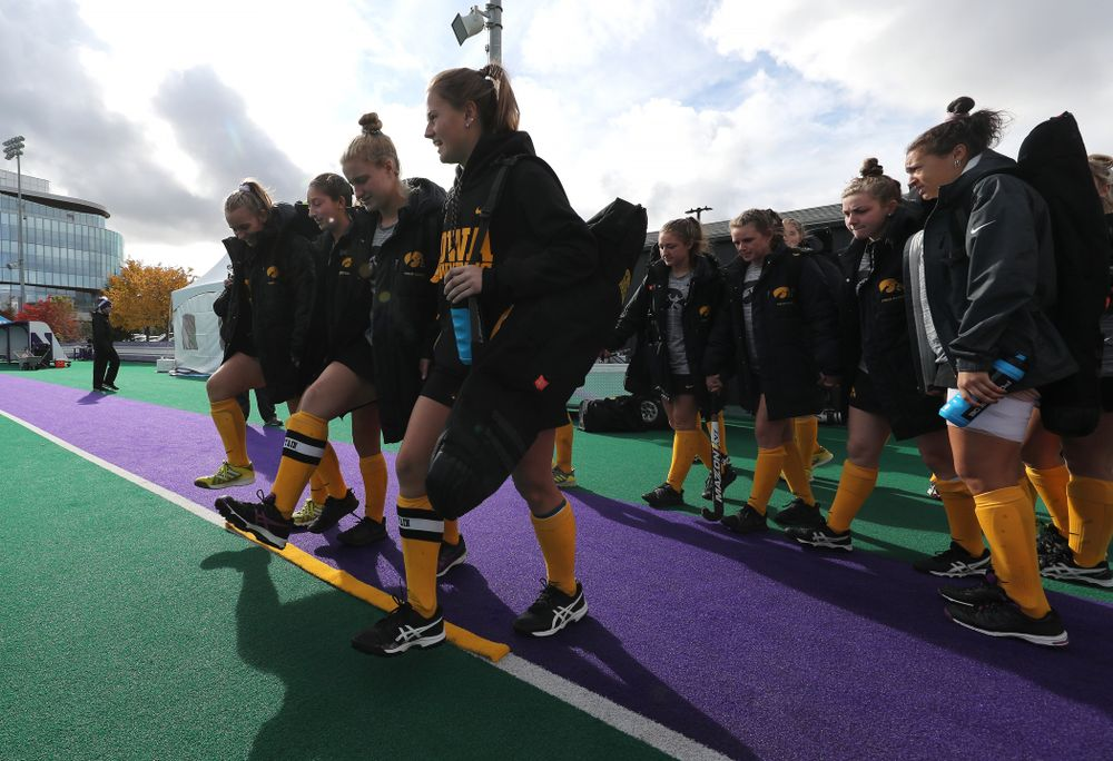 The juniors cross the line before their game against the Michigan Wolverines in the semi-finals of the Big Ten Tournament Friday, November 2, 2018 at Lakeside Field on the campus of Northwestern University in Evanston, Ill. (Brian Ray/hawkeyesports.com)