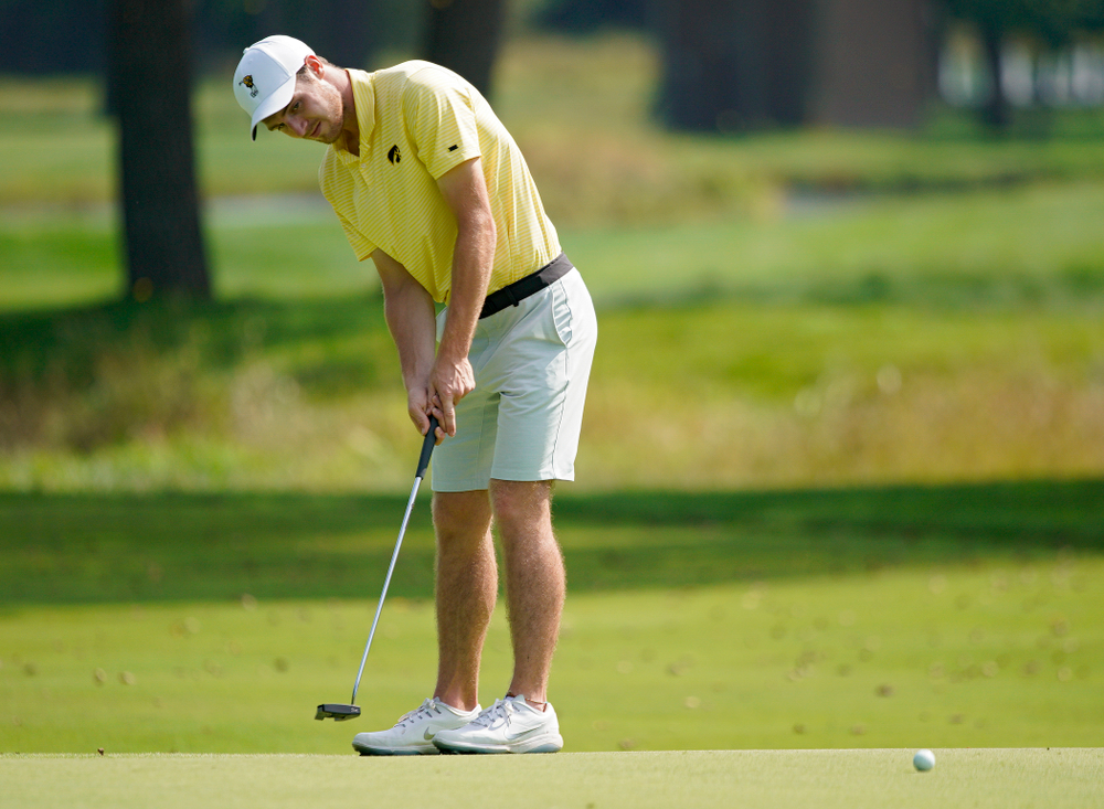 Iowa's Jake Rowe putts during the third day of the Golfweek Conference Challenge at the Cedar Rapids Country Club in Cedar Rapids on Tuesday, Sep 17, 2019. (Stephen Mally/hawkeyesports.com)