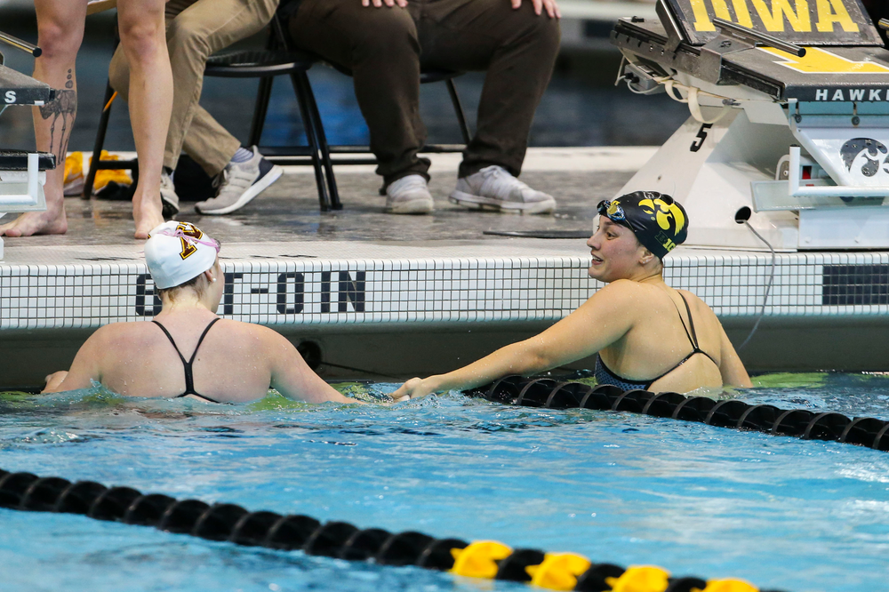 Iowa's Hannah Burvill during Iowa swim and dive vs Minnesota on Saturday, October 26, 2019 at the Campus Wellness and Recreation Center. (Lily Smith/hawkeyesports.com)