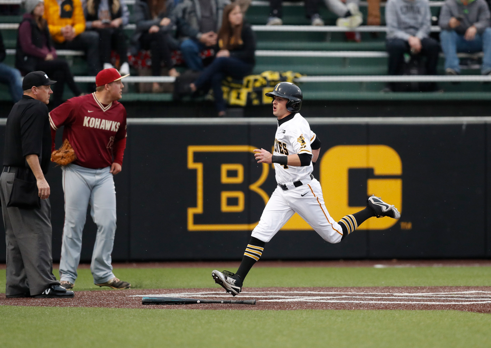 Iowa Hawkeyes infielder Mitchell Boe (4) against Coe College Wednesday, April 11, 2018 at Duane Banks Field. (Brian Ray/hawkeyesports.com)