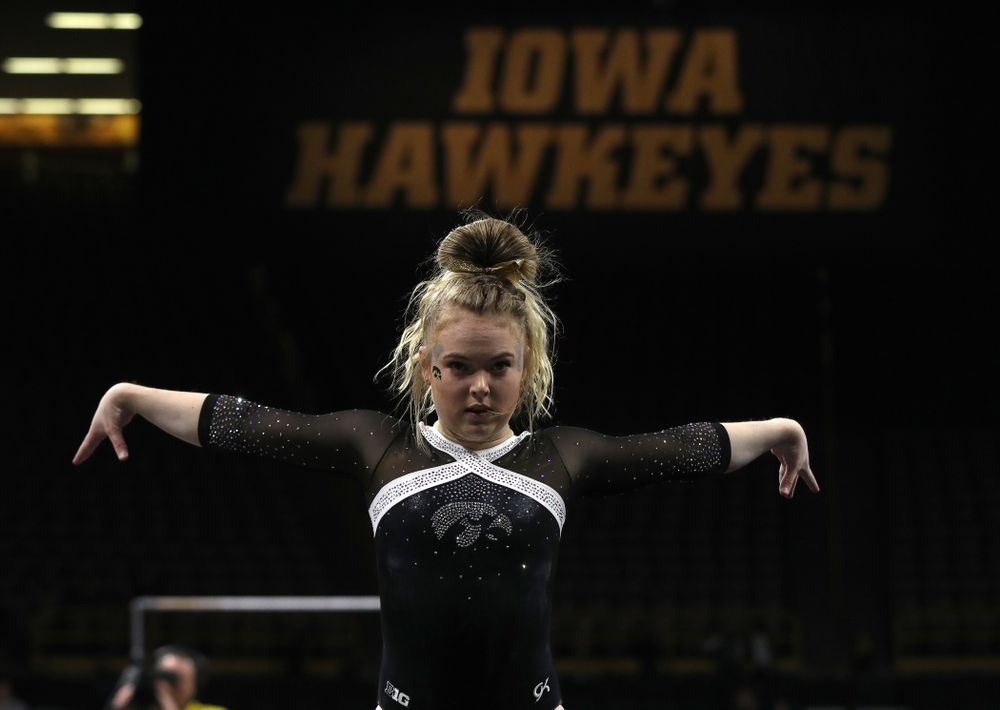 Iowa's Charlotte Sullivan competes on the floor against the Rutgers Scarlet Knights Saturday, January 26, 2019 at Carver-Hawkeye Arena. (Brian Ray/hawkeyesports.com)