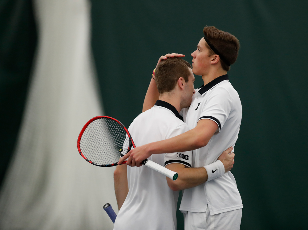 Jake Jacoby and Joe Tyler play a doubles match against Purdue Sunday, April 15, 2018 at the Hawkeye Tennis and Recreation Center. (Brian Ray/hawkeyesports.com)