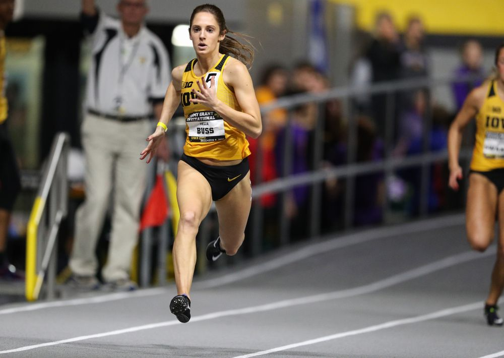 Iowa's Talia Buss runs the 300 meters during the Jimmy Grant Invitational Saturday, December 8, 2018 at the Recreation Building. (Brian Ray/hawkeyesports.com)