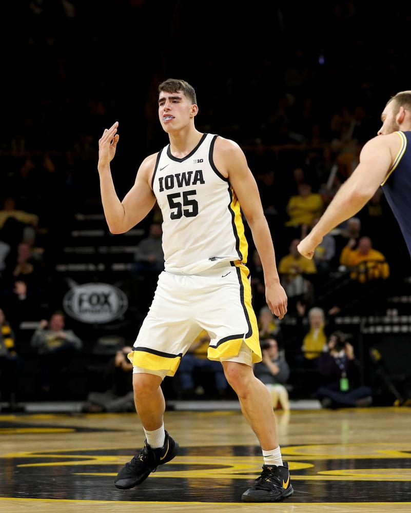 Iowa Hawkeyes forward Luka Garza (55) against the Michigan Wolverines Friday, January 17, 2020 at Carver-Hawkeye Arena. (Brian Ray/hawkeyesports.com)