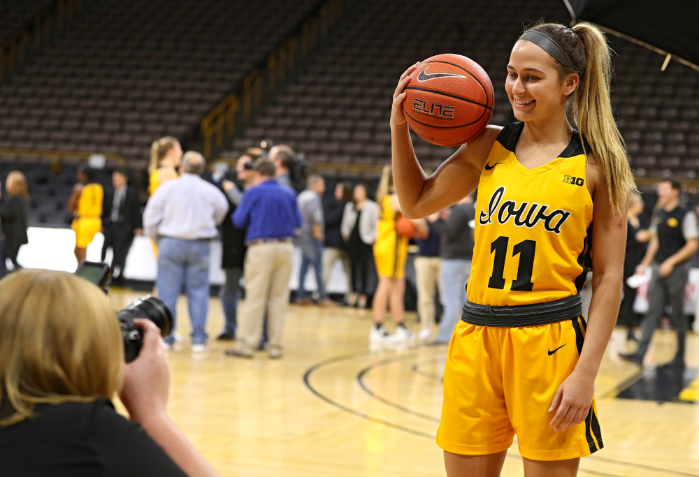 Iowa guard Megan Meyer (11) poses for a picture during Iowa Women's Basketball Media Day at Carver-Hawkeye Arena in Iowa City on Thursday, Oct 24, 2019. (Stephen Mally/hawkeyesports.com)
