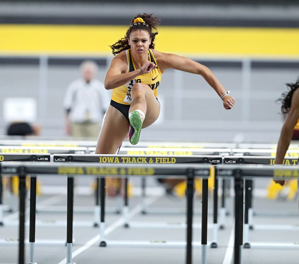 Iowa's Dallyssa Huggins runs the women's 60 meter hurdles premier preliminary event during the Larry Wieczorek Invitational at the Recreation Building in Iowa City on Saturday, January 18, 2020. (Stephen Mally/hawkeyesports.com)