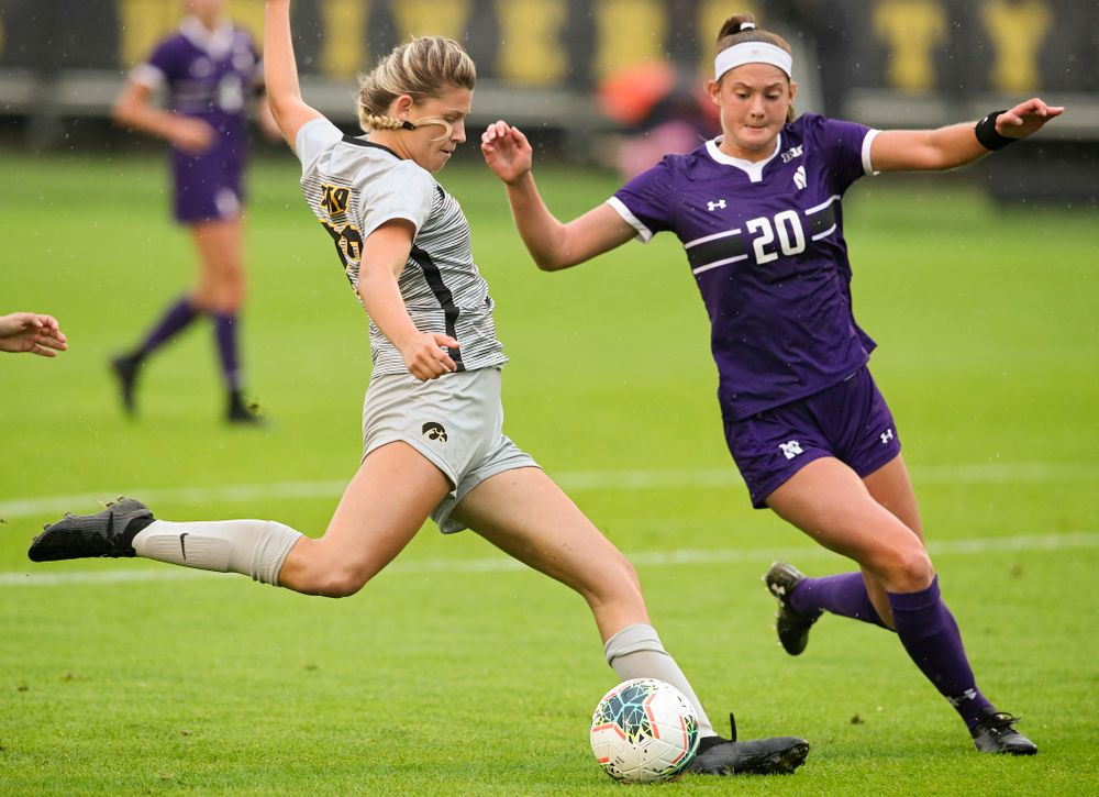 Iowa forward Gianna Gourley (32) lines up a shot during the first half of their match at the Iowa Soccer Complex in Iowa City on Sunday, Sep 29, 2019. (Stephen Mally/hawkeyesports.com)