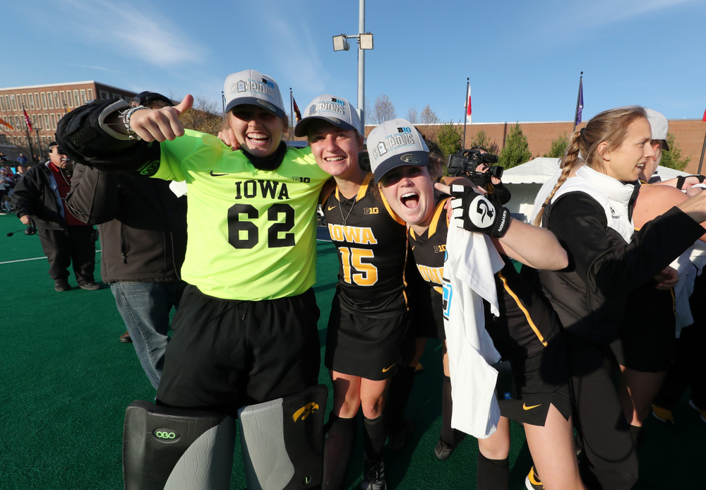 Iowa Hawkeyes goaltender Grace McGuire (62), Esme Gibson (15), and Meghan Conroy (5) celebrate their victory over  Penn State in the 2019 Big Ten Field Hockey Tournament Championship Game Sunday, November 10, 2019 in State College. (Brian Ray/hawkeyesports.com)