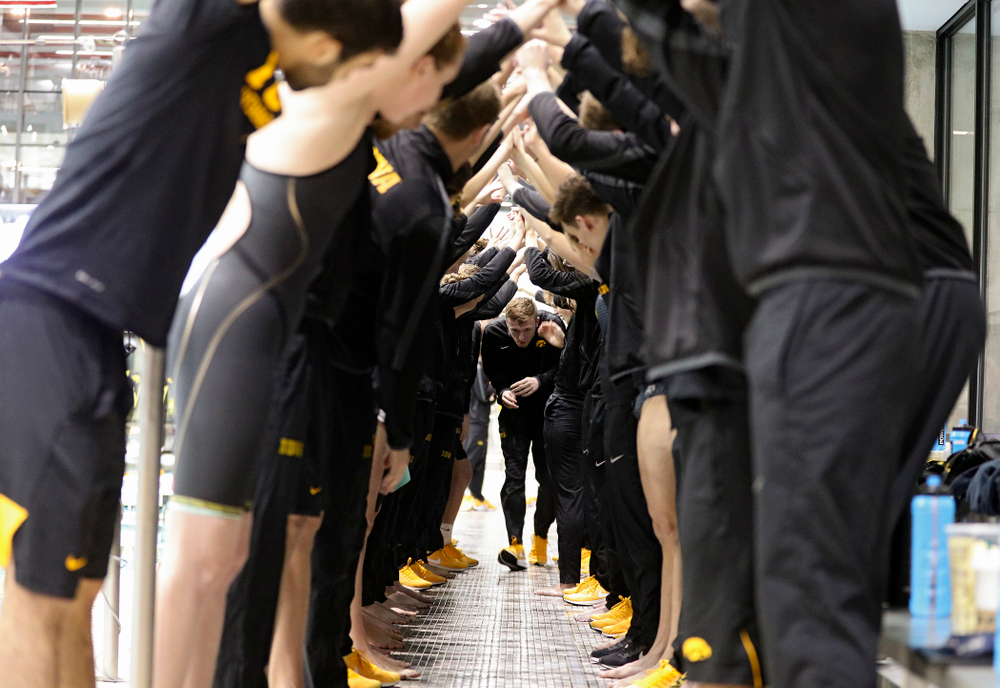Iowa's Sam Dumford is honored on senior day before their meet at the Campus Recreation and Wellness Center in Iowa City on Friday, February 7, 2020. (Stephen Mally/hawkeyesports.com)