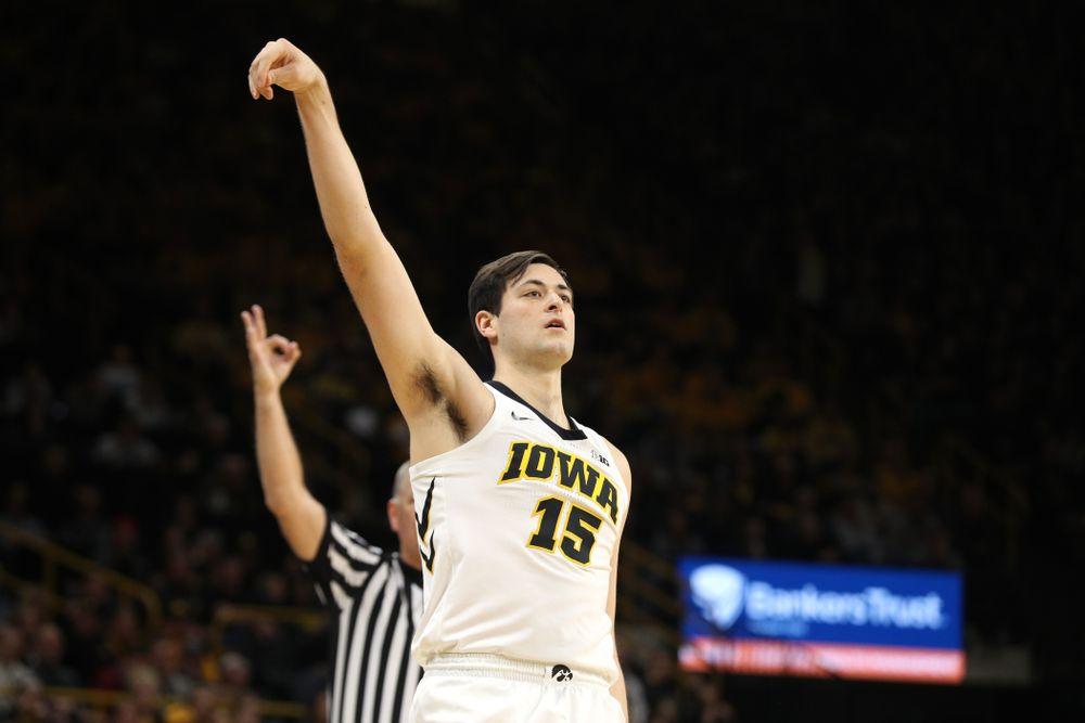 Iowa Hawkeyes forward Ryan Kriener (15) knocks down a three point basket against the Michigan Wolverines Friday, February 1, 2019 at Carver-Hawkeye Arena. (Brian Ray/hawkeyesports.com)